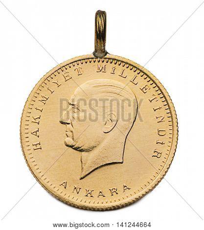 Turkish Gold Coin Ata Lira Back Isolated