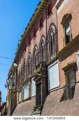 Palazzo Accursio facade detail in Bologna. Emilia-Romagna. Italy. poster