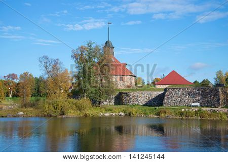 The Korela fortress on the river Vuoksi Sunny October day. Priozersk Russia