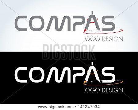 Compas logo design - compas icon on white and black background