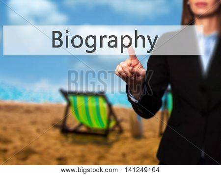 Biography -  Young Girl Working With Virtual Screen And Touching Button.