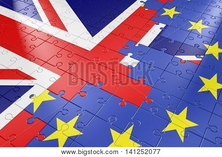 puzzle in the form of flags of the European Union and the United Kingdom. 3d render.