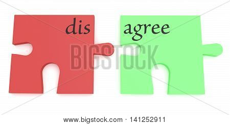 Convincing: Red And Green Agree Or Disagree Puzzle Pieces 3d illustration