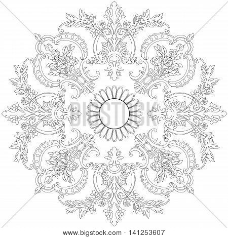 Floral ornament in a circle. Vintage pattern, vintage element, baroque pattern, decor pattern, scroll pattern, swirl patter, wreath pattern, blowwom pattern.  Vector.