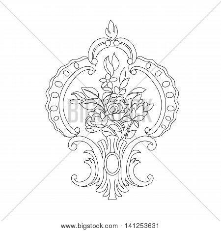 Floral ornamental pattern, leaf pattern, graphic pattern, silhouette pattern, rose pattern, classical pattern, scroll pattern, blossom pattern, decorative pattern, vintage pattern. Vector,