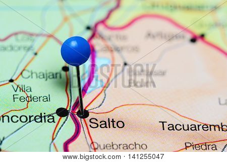 Salto pinned on a map of Uruguay