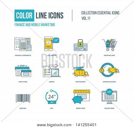 Color thin Line icons set. Finance, mobile marketing, shopping cart, express delivery, online store, shop store, survey. Colorful logo and pictograms