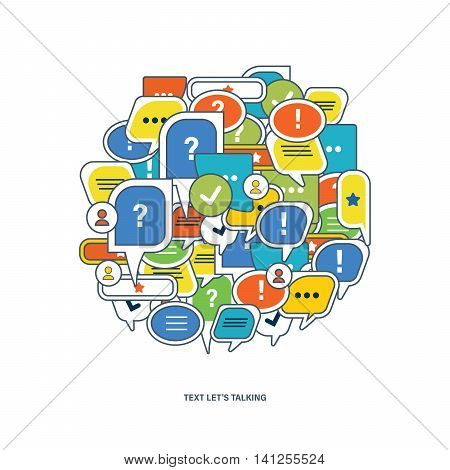 The concept of dialogue, speech bubbles with symbols of communication in the shape circle. Let's go.Vector illustration