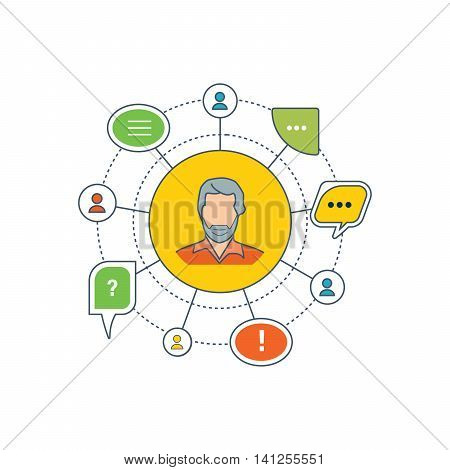 The concept of dialogue, speech bubbles with symbols of communication. Communication and support. Vector illustration
