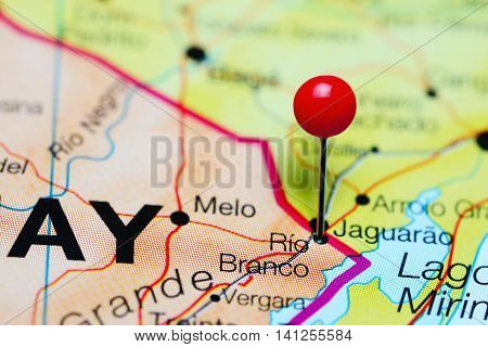 Rio Branco pinned on a map of Uruguay
