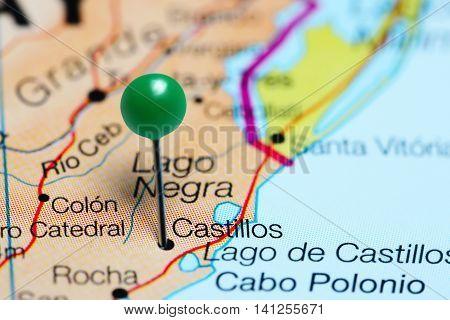 Castillos pinned on a map of Uruguay