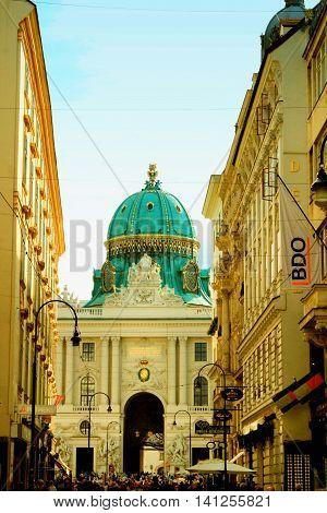 VIENNA, Austria - August 20. 2015: People walk in Graben street (Grabenstrasse) main street in old town of Vienna.