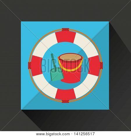 pail, vacation on beach icon, vector illustration