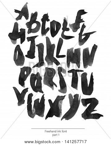 Hand drawn with liquid black ink and brush freehand alphabet part 1. Stylish capital letters can be used for lettering and quote design. Grainy bold font isolated on white background