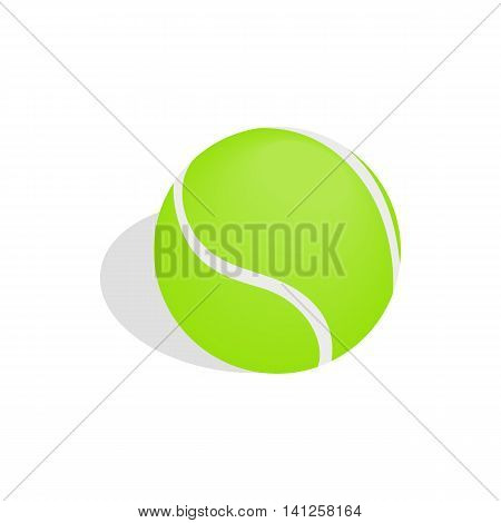 Green tennis ball icon in isometric 3d style isolated on white background