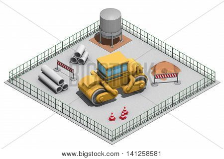 illustration view isometric, site with steamroller and tools