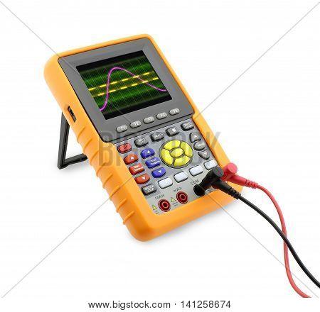 analog signal wave on digital oscilloscope isolated on white background