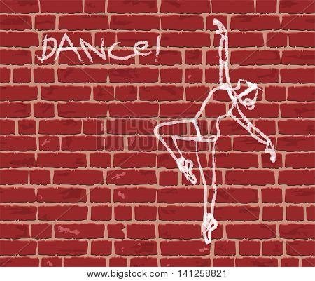 vector illustration of Wall bricks and dancer designed