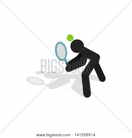 Tennis returner icon in isometric 3d style isolated on white background