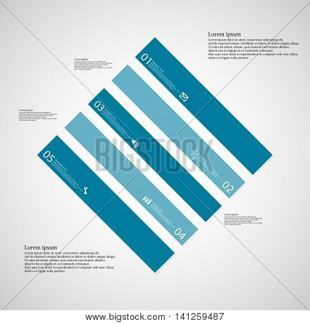 Rhombus Illustration Template Consists Of Five Blue Parts On Light Background