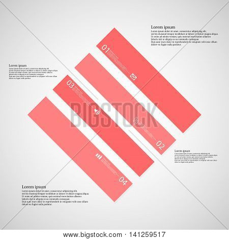 Rhombus Illustration Template Consists Of Four Red Parts On Light Background
