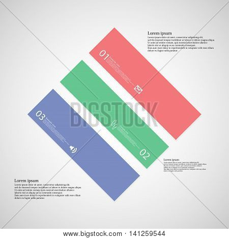 Rhombus Illustration Template Consists Of Three Color Parts On Light Background
