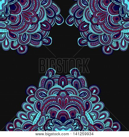 Vector hand drawn template. Lines pattern in blue colors. Mandala. Down down and up side ornament.