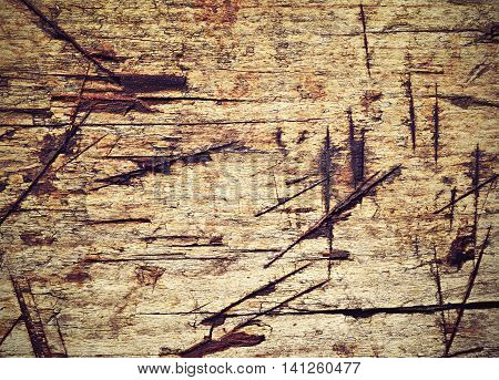 abstract background or texture for cuts grooves on old wood