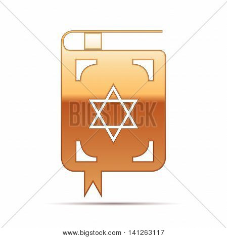 Gold Jewish torah book icon on white background. Vector Illustration