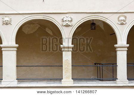 Detail of courtyard in Pieskowa Skala - Poland.