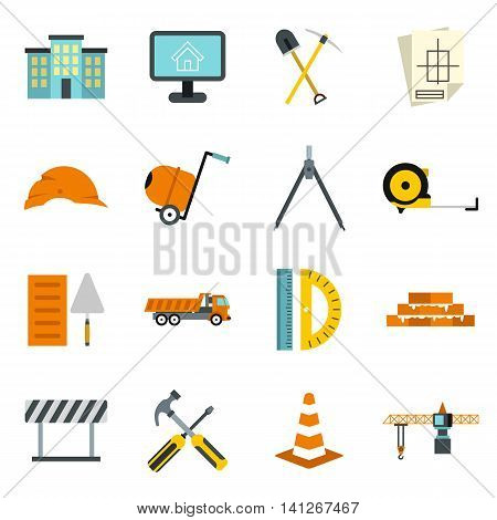 Flat construction icons set. Universal construction icons to use for web and mobile UI, set of basic construction elements isolated vector illustration