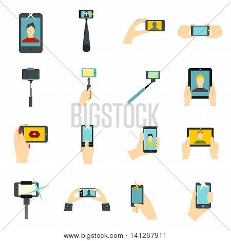 Flat selfie icons set. Universal selfie icons to use for web and mobile UI, set of basic selfie elements isolated vector illustration
