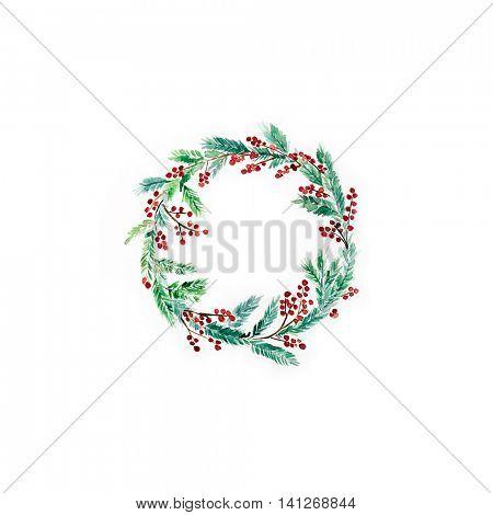 Watercolor Christmas Wreath (hand drawn)