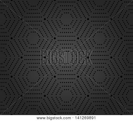 Geometric repeating ornament with hexagonal dotted elements. Seamless abstract modern pattern. Hexagonal dark pattern
