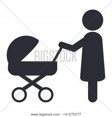 flat design woman with baby stroller icon vector illustration