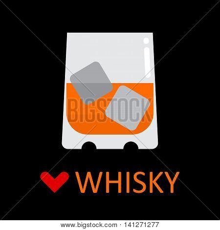 Glass of whisky and ice cubes vector icon. Love whisky.