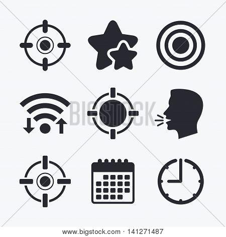 Crosshair icons. Target aim signs symbols. Weapon gun sights for shooting range. Wifi internet, favorite stars, calendar and clock. Talking head. Vector