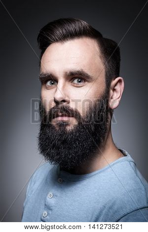 Studio Portrait Of Stylish Bearded Man;