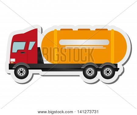flat design cement truck icon vector illustration
