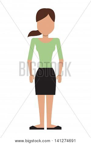 flat design faceless woman with ponytail icon vector illustration