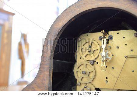 Internal workings of an antique clock movement