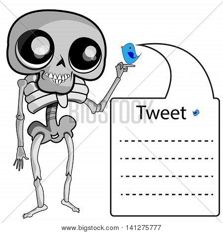 This file represents a skeleton handing a little twitter bird that is leaving a Twitter message on a balloon.