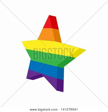 Star in LGBT color icon in cartoon style isolated on white background. Tolerance symbol