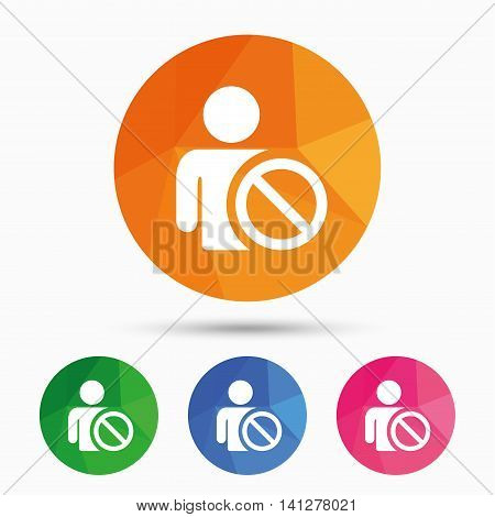 Blacklist sign icon. User not allowed symbol. Triangular low poly button with flat icon. Vector