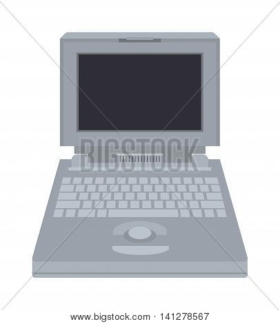 Old computer technology vector isolated. Telecommunication equipment old vintage pc monitor frame computer modern office network. Old computer device electronic equipment space.