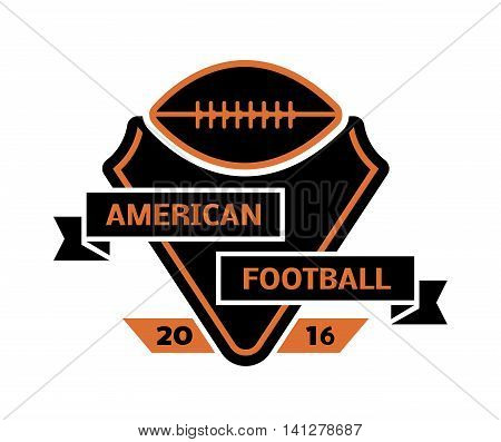Template logo for American football sport team with sport sign and symbols. Tournament competition graphic champion sport team logo badge icon. Vector club game football sport team logo badge.