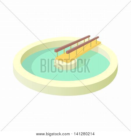 Round pool icon in cartoon style isolated on white background. Water supplies symbol