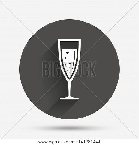 Glass of champagne sign icon. Sparkling wine with bubbles. Celebration or banquet alcohol drink symbol. Circle flat button with shadow. Vector
