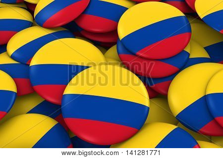 Colombia Badges Background - Pile of Colombian Flag Buttons 3D Illustration poster