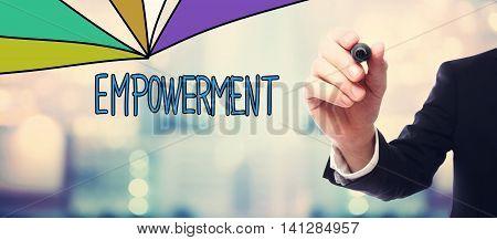 Businessman Drawing Empowerment Concept